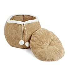 PAWZ Road Ulter Soft Dog Plush Bed Pet Cat Cave Puppy Kitten Nesting House Brown