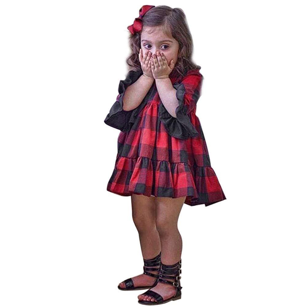 Dream Room Infant Baby Girls Plaid Princess Dress Flare Sleeve Casual Wild Party Wear Cute Tutu Skirt