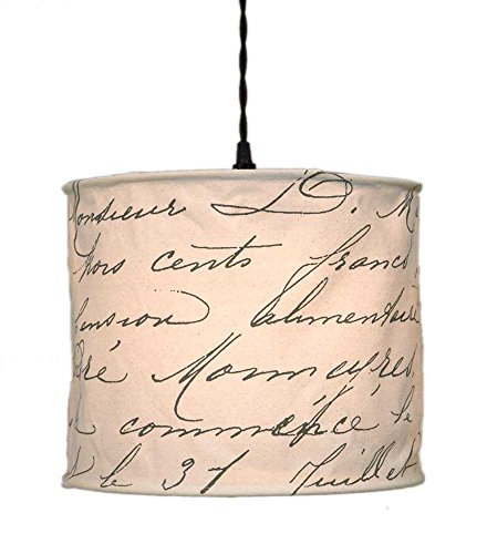 Vintage Handwriting Canvas Pendant Lamp by Colonial Tin Works