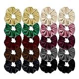 #5: Habibee 20 Pack Velvet Scrunchies Hair Bobble Elastics Hair Scrunchy Hair Bands for Women Ouchless Hair Ties Ponytail Holders