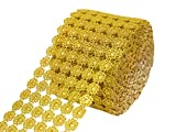 Efavormart Shinny Faux Mesh Ribbon Wrap Roll for Arts and Crafts Decorations and Cake Decorations - 4.75'' x 10yards Gold