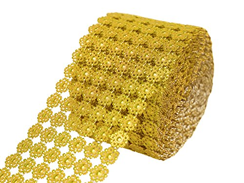 Efavormart Shinny Faux Mesh Ribbon Wrap Roll for Arts and Crafts Decorations and Cake Decorations - 4.75'' x 10yards Gold by Efavormart