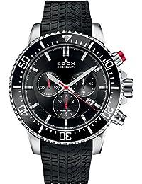 Men's Edox Chronorally S 44mm Black Rubber Band Titanium Case Quartz Analog Watch 10227 Tinca NINN