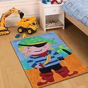 Flair Rugs - Alfombra infantil (70 x 100 cm), diseño de niño pirata, multicolor