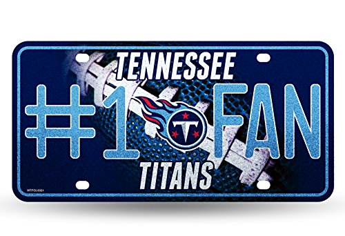Tennessee Titans Silver Metal (NFL Tennessee Titans Bling #1 Fan Metal Auto Tag Plate, 12 x 6-Inch, Silver)