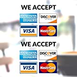 Clear Credit Card Vinyl Sticker Decal - 2 Pack - We Accept - Visa, MasterCard, Amex and Discover - 3.5' x 3.5' Vinyl Decal for Window - Shop, Cafe, Office, Restaurant