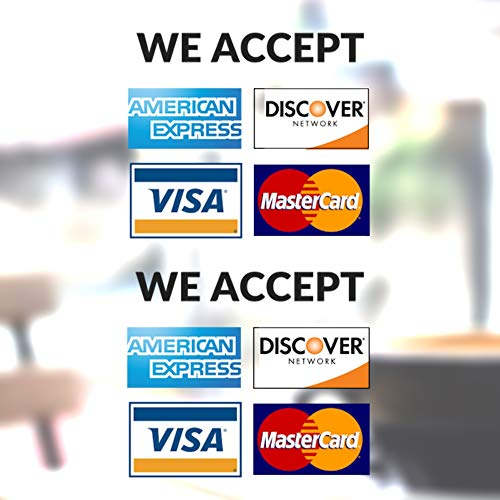 Clear Credit Card Vinyl Sticker Decal - 2 Pack - We Accept - Visa, MasterCard, Amex and Discover - 3.5