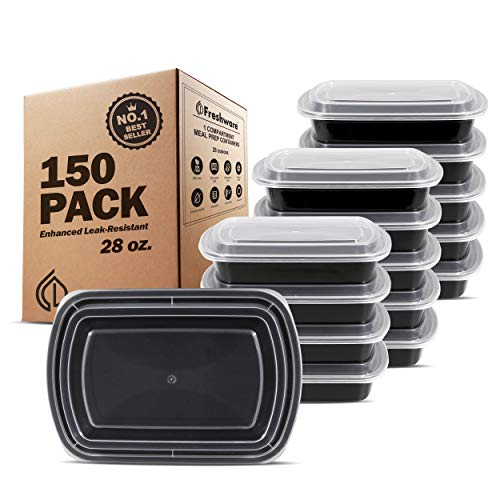 Freshware Meal Prep Containers [150 Pack] 1 Compartment Food Storage Containers with Lids, Bento Box | BPA Free | Stackable | Microwave/Dishwasher/Freezer Safe, Portion Control, 21 Day Fix (28 oz)