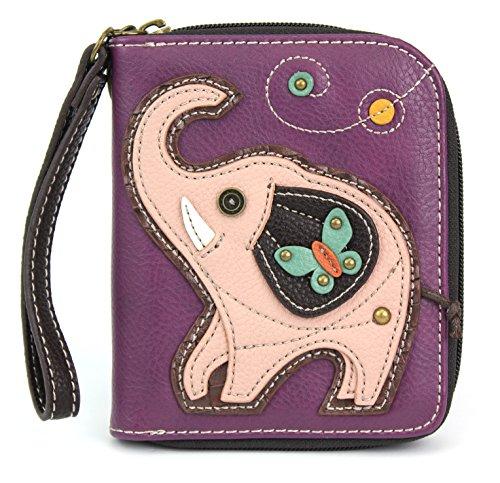 Charming Poodle Deluxe Zip around Wallet in Mauve Stripe Pattern (Purple Elephant) Stripe Zip Around Wallet