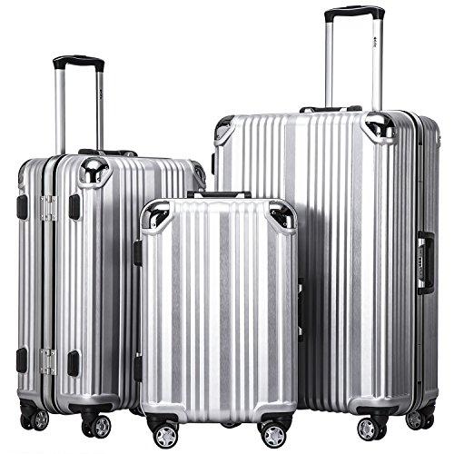 Luggage 28 Leather - Coolife Luggage Aluminium Frame Suitcase 3 Piece Set with TSA Lock 100% PC (SLIVER)