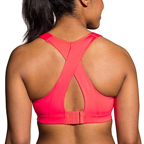 Brooks Women's Juno Cross Back Adjustable High-Impact Sports Bra | Moving Comfort Race Pink - Breast By Size Race