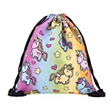 Aigemi Unicorn Print Drawstring Gym Sport Bag, Large Lightweight Gym Sackpack Backpack School Rucksack (Style - 004)