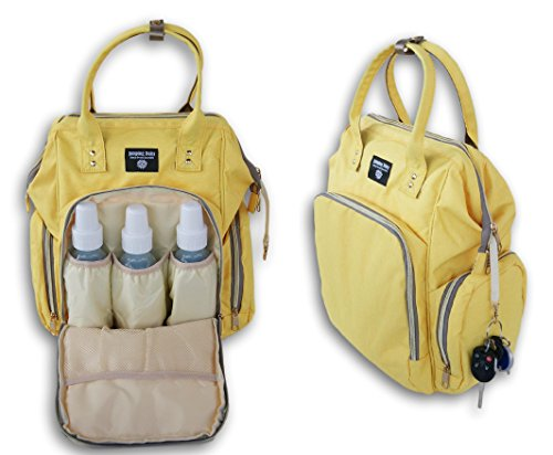 Jumping Daisy Large Baby Backpack Diaper Bag for Women or Men - Zip Pocket Capacity for Large 8-Ounce Baby Bottles (Yellow) by Jumping Daisy