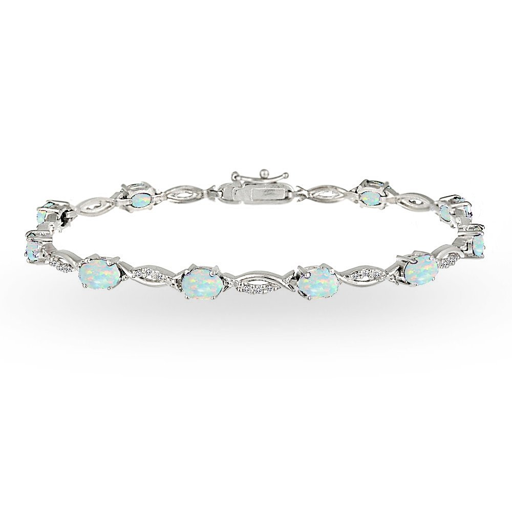 GemStar USA Sterling Silver Simulated White Opal and White Topaz Oval-Cut Swirl Tennis Bracelet by GemStar USA (Image #1)