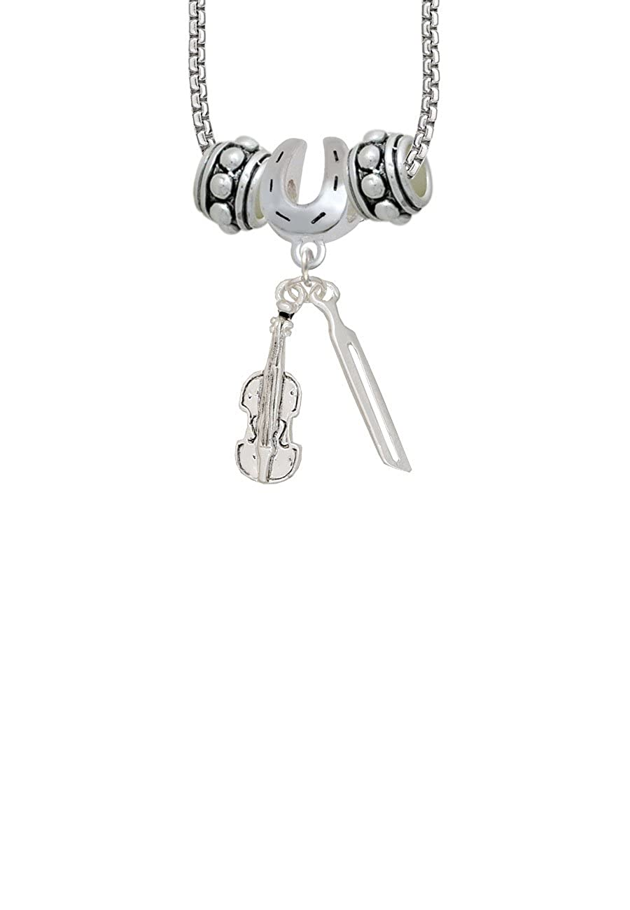 Violin and Bow Horseshoe 3 Bead Necklace