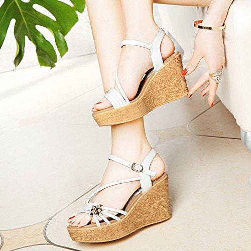 y RUGAI de UE sandalias sandalias para Sandalias sandalias con sandalias mujer white verano rqXRqZw