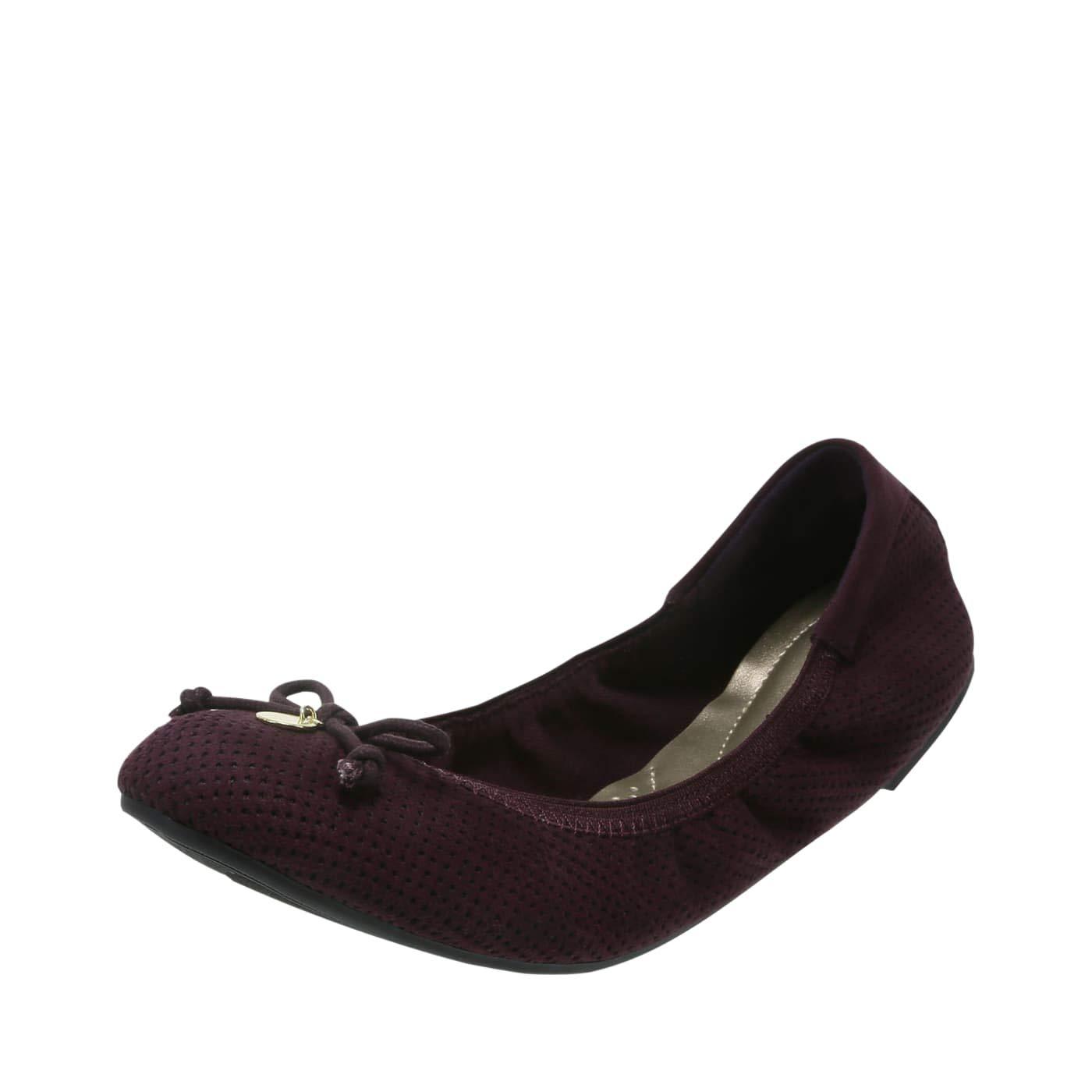 dexFlex Comfort Black Violet Perforated Womens Caroline String Tie Flat 12 Regular