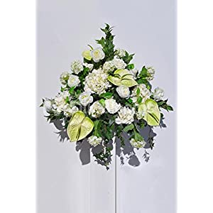 Ivory Hydrangea, Rose and Snowball Floral Table Arrangement w/ Green Anthuriums and Ivy 1