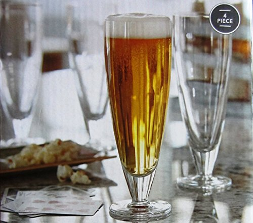 - Footed Pilsner Beer Glass Set by Threshold - Set of 4 Glasses (Made in Italy) 15.5 fl. oz