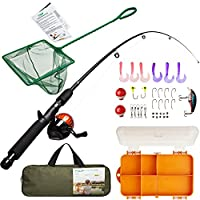 Kids Fishing Rod Kit with Pole & Reel, Tackle Box, Net,...