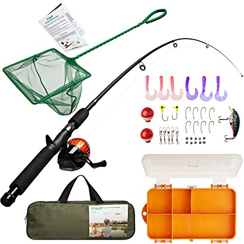 Kids Fishing Rod Kit with Tackle Box, Net, Travel Bag and Starter Guide | Pole & Reel Combo Set (37 pieces) - Kid Kit Box