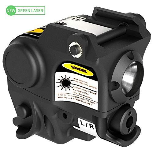 Laspur Advanced Optics Tactical Sub Compact Rail Mount Laser Sight with High Lumen Flashlight Light Integrated Combo with Strobe Function for Pistol Rifle Handgun Gun (Green) (Gun Light)