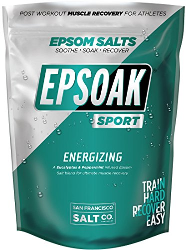 Epsoak SPORT Epsom Salt for Athletes - 5 lbs. ENERGIZING. All-natural, therapeutic soak with Eucalyptus and Peppermint Essential Oil Energizing Mint Essential Oil
