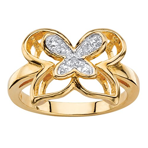 Palm Beach Jewelry White Diamond Accent 14k Gold-Plated Two-Tone Pave-Style Openwork Butterfly Ring Size (Two Tone Openwork)