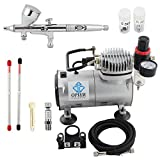 OPHIR Pro 3 Tips Dual Action Airbrush Gravity Paint Gun Kit with Compressor 110V for Nail Art Paint Temporary Tattoo