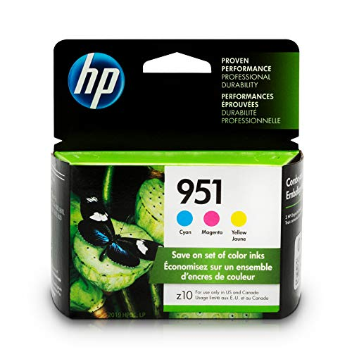 - HP 951 Ink Cartridges: Cyan, Magenta & Yellow, 3 Ink Cartridges (CN050AN, CN051AN, CN052AN)