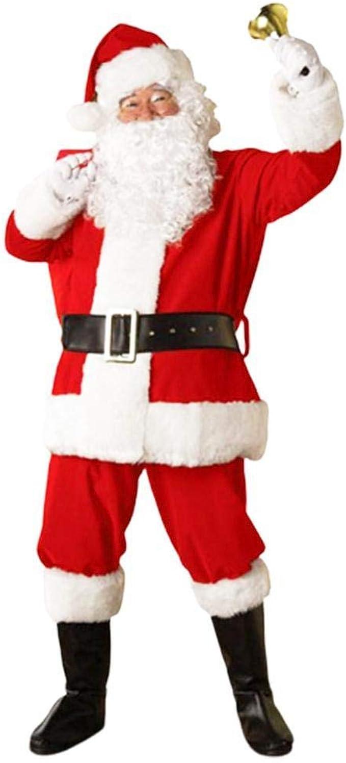 5 Unids Adulto Traje de Pap/á Noel Traje de Pap/á Noel de Navidad Velvet Deluxe Faux Fur Fancy Dress Trajes de Hombre Juegos de rol Festivos Trajes de Cosplay