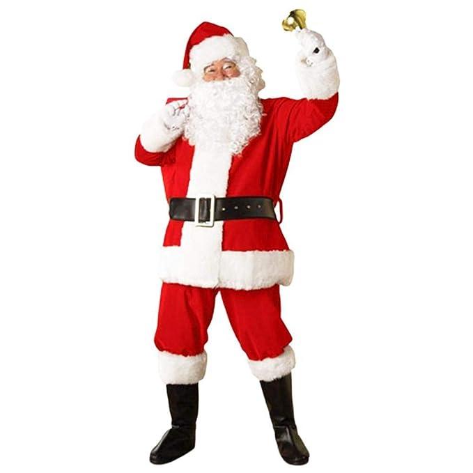 5 Unids Adulto Traje de Papá Noel Traje de Papá Noel de Navidad Velvet Deluxe Faux Fur Fancy Dress Trajes de Hombre Juegos de rol Festivos Trajes de ...