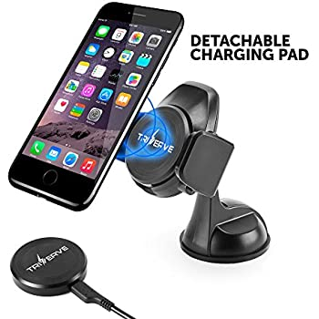 Triverve Qi Wireless Car Charger for iPhone 8,10, Samsung Galaxy (Edge/Plus) S8, S7 and other Qi-compatible Devices – One Hand Operation, Non-Slip Auto-Grip, Strong Suction Cup for smooth surfaces