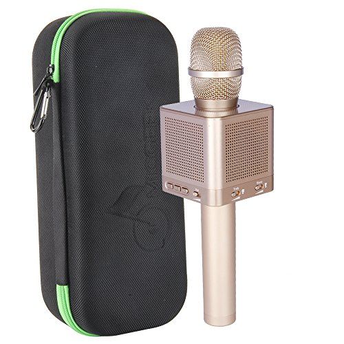 MICGEEK Q10S丨Wireless Bluetooth Karaoke Microphone,4-in-1 Speakers,Super Li-ion Battery,Play/Sing/Record Modes,Best Mini Portable Home Music Machine System for Iphone/Ipad/Android/Tablet/Car(Gold)