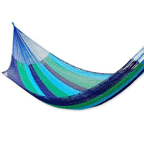 - NOVICA Green Bright Blue Navy Striped Cotton Hand Woven Mayan Rope 2 Person XL Hammock, Ocean Dreams' (double)