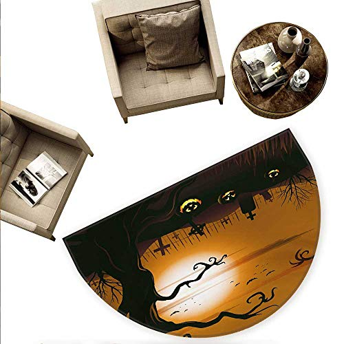 Halloween Semicircular Cushion Leafless Creepy Tree with Twiggy Branches at Night in Cemetery Graphic Drawing Entry Door Mat H 74.8