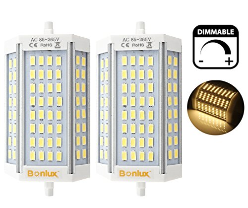 Bonlux 30W R7S J118 Dimmable Double Ended J Type LED Light Bulb R7S LED Floodlight 300W Halogen Replacement Lamp (Warm White 3000K, Pack of 2)