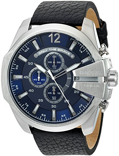 (Diesel Men's Mega Chief Quartz Stainless Steel and Leather Chronograph Watch, Color: Silver-Tone, Black (Model:)