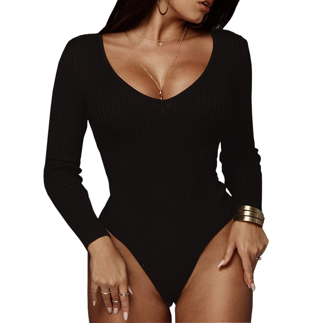 83e6813d4b2 Amazon.com  Weigou Women Jumpsuits Deep V Neck Long Sleeve Bodycon Stretch  Jumpsuit Leotard Bodysuit Tops  Clothing