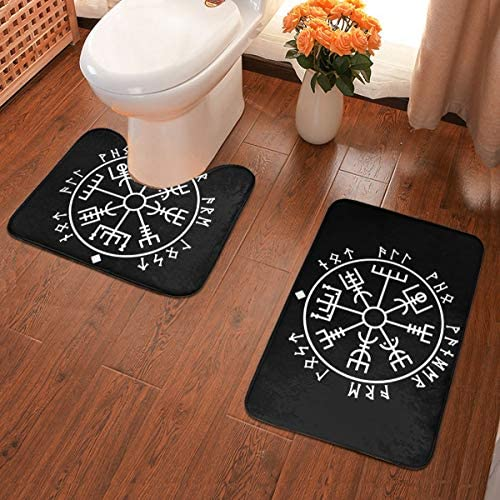 BYKLddljian Viking Compass Bathroom Antiskid Pad Non-Slip Mat U-Shaped Mat Rectangular Mat Door Mat Two-Piece Suit
