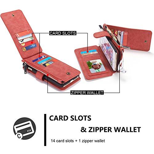 "Roreikes Multi-function Wallet Case Hülle 2 in 1 Detachable Leather hülle Tasche Schutzhülle Etui Flip Wallet Stand Cover mit Kartenfächer für Apple iPhone 6 / 6S (4.7"") - Rot"