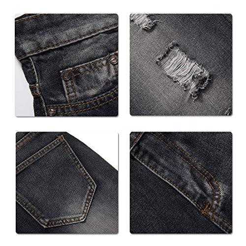 Jeans Alla Vestibilità Moda Da Vintage Casual In Battercake Pantaloni Strappati Nero Comodo Uomo A Comodi Denim Regolare q4t81