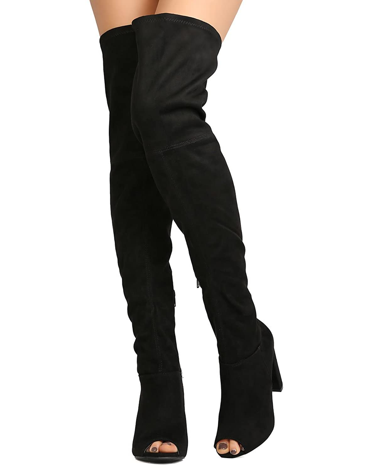 7007be9bd8f Wild Diva GA42 Women Faux Suede Peep Toe Thigh High Chunky Heel Boot - Black  lovely