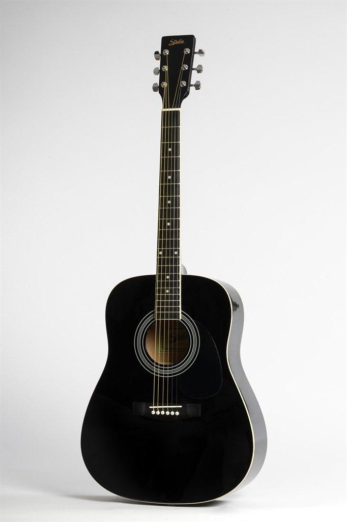 Guitarra Acústica Stratos Dreadnought negro teclado de acero ...