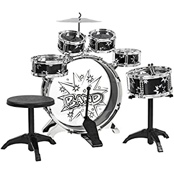 BCP Kids Toy Musical Instrument 6-Piece Kids Drum Set W/ Bass Drum, Snare, Tom Drums, Cymbal, Stool, Drumsticks Drum Kit