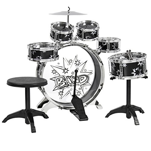 BCP Kids Toy Musical Instrument 6-Piece Kids Drum Set W/ Bass Drum, Snare, Tom Drums, Cymbal, Stool, Drumsticks Drum Kit