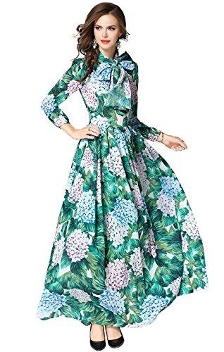 c06a8a2e533d LAI MENG Sommerkleider Damen 3 4 Ärmel Blumen Maxi Kleid mit Gürtel Rundhal  Abendkleid Strandkleid Party