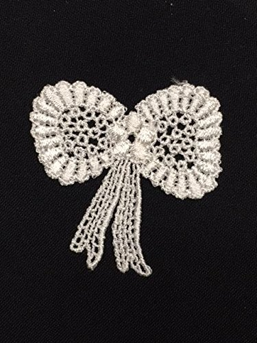 """2""""x2.5"""", Flowing Bow Applique with Flower Center, Lot of 6 Pieces, White"""
