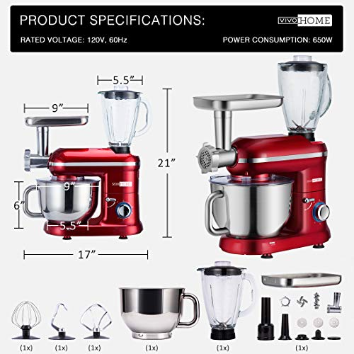 VIVOHOME Electric 650W Multi-functional 6-Speed Tilt-Head Stand Mixer Meat Grinder Juice Blender with 6 Quart Stainless Steel Bowl Red ETL Listed by VIVOHOME (Image #5)