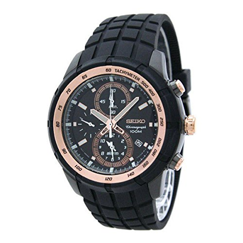 Seiko Men's Chronograph Watch SNAD88 Alarm, Date, Tachymeter, Rose Gold & Black Stainless Steel, Rubber Strap by Seiko Watches -